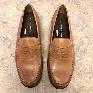 Men's brown rockport penny slide shoes 10.5